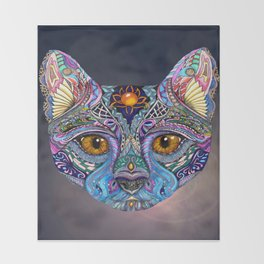 Mystic Psychedelic Cat Throw Blanket
