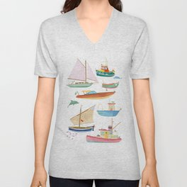 Boats poster Unisex V-Neck