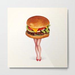 Cheeseburger Pin-Up Metal Print