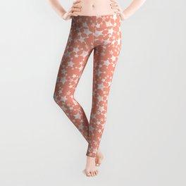 Coral and White Lino Print Stars Pattern Leggings