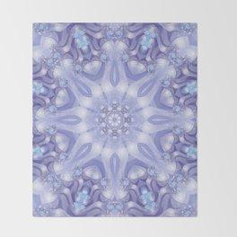 Light Blue, Lavender & White Floral Mandala Throw Blanket