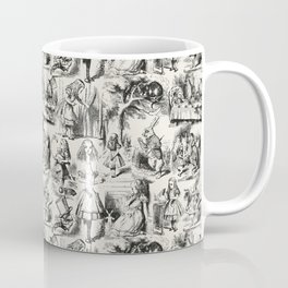 Alice in Wonderland   Toile de Jouy   Black and Beige Coffee Mug