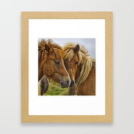 Two horses portrait  Framed Art Print