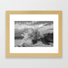 Crashing Waves - Black and White Framed Art Print