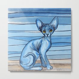 Blue Watercolor Sphynx Cat Metal Print