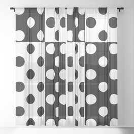 simple , black and white pattern , polka dot Sheer Curtain