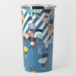 Crossing The Street On a Rainy Day - Blue Travel Mug