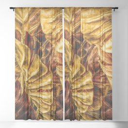 Painted Autumn Monstera palm leaves by Brian Vegas Sheer Curtain