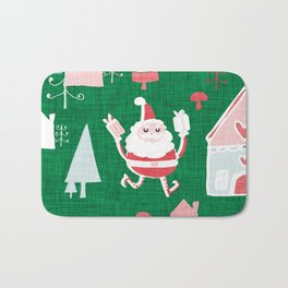Santa is in Town Green #Holiday #Christmas Bath Mat
