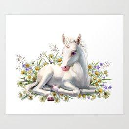 Baby unicorn lies in flowers Art Print