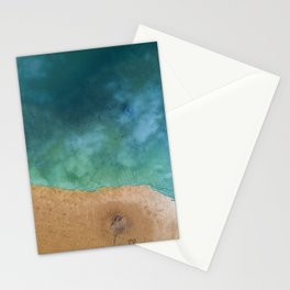 Blue Ocean Sea Shoreline - Drone photography Stationery Cards