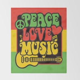 Rasta Peace Love Music Throw Blanket