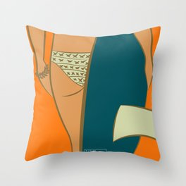 Girl Sunset beach Throw Pillow