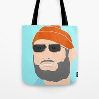 the life aquatic Tote Bags featuring life aquatic  by Chad spann