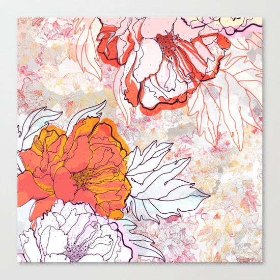 Abstract Floral Illustration Canvas Print