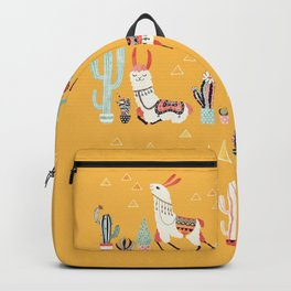 Happy llama with cactus in a pot Backpack
