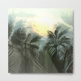 Jungle pampa forest. Tropical green forest with palms Metal Print