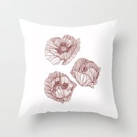 poppies Throw Pillows featuring Poppies by Annike