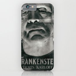 Frankenstein, vintage movie poster, Boris Karloff, horror film, Mary Shelley book cover iPhone Case