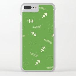 Sagittarius Pattern - Green Clear iPhone Case