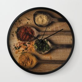 Spoons filled with spices Wall Clock