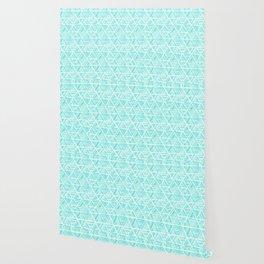 Aquamarine Watercolor Triangular Pattern Wallpaper