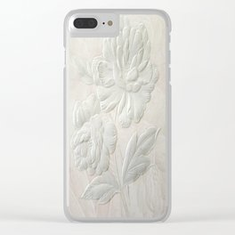 Embossed Painterly White Floral Abstract Clear iPhone Case