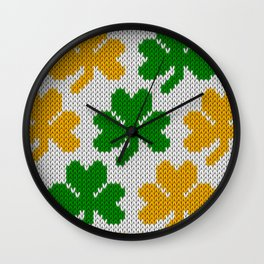 Shamrock pattern - white, green, orange Wall Clock