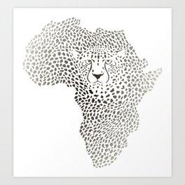 Symbol Africa in cheetah camuflage Art Print