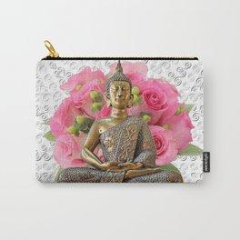 Buddha Rose Silver Mandala Carry-All Pouch