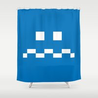video games Shower Curtains featuring Pac-Man Ghost Pillow - Atari - 8Bit - Nintendo - Video Games by James Bit