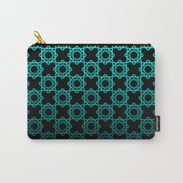 Retro. Black and turquoise satin ornament . Carry-All Pouch
