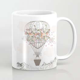 Air balloon with flowers and mountains. Fashion tripping illustration in vintage style Coffee Mug