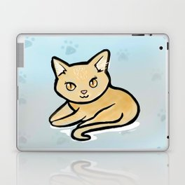 Kawaii Orange kitty with paw background Laptop & iPad Skin