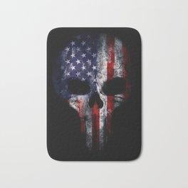 American Flag Punisher Skull Grunge Distress USA Bath Mat
