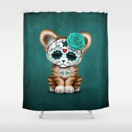 Blue Day of the Dead Sugar Skull Tiger Cub Shower Curtain