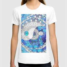 Blue And White Art - Yin And Yang Symbols - Sharon Cummings T-shirt