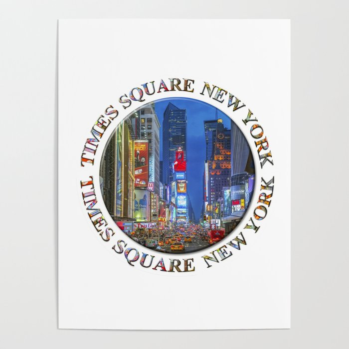 Times Square Broadway (New York Badge Emblem on white) Poster