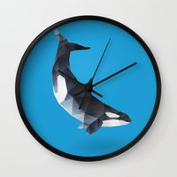 killer whale Wall Clocks featuring Killer Whale by The animals moved to - society6.com/dian