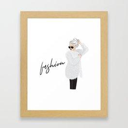 Girl in fluffy fur Framed Art Print