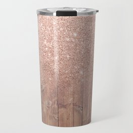 Modern faux rose gold glitter ombre brown rustic wood color block Travel Mug