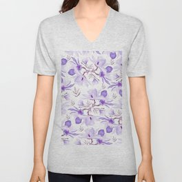 Hand painted lilac purple watercolor magnolia floral pattern Unisex V-Neck