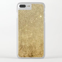 Girly Glamorous Gold Foil and Glitter Mesh Clear iPhone Case