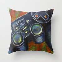 playstation Throw Pillows featuring Playstation  by Megan Bailey Gill
