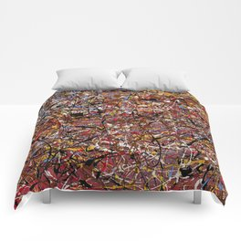ELECTRIC 071 - Jackson Pollock style abstract design art, abstract painting Comforters