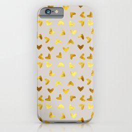 gold heart pattern gray iPhone Case