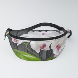 White Orchids On Wood Bark Fanny Pack