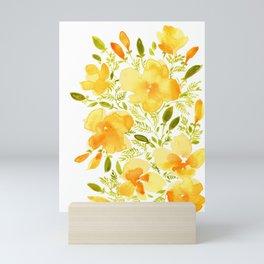 Watercolor California poppies (Quad set, #1) Mini Art Print