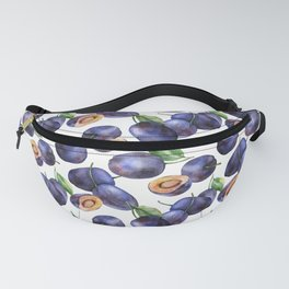 Plums on White Background Fanny Pack