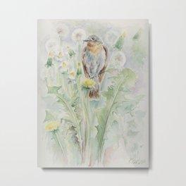 Flycatcher Wildlife watercolour bird painting Bird lover decor Metal Print